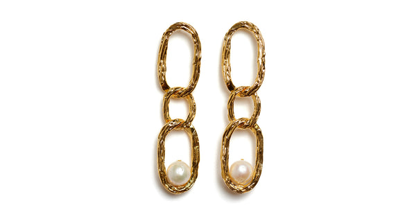 Full view of Vine Earrings. You'll be the strongest link in the style chain in these textured, gold-plated brass long link earrings with freshwater pearl details.