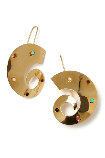 Thumbnail close-up of Orion Earrings. Take a trip across the universe with the gold-plated a...