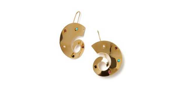 "Full view of Orion Earrings. Take a trip across the universe with the gold-plated abstract ""swirl"" earrings, inlaid with a colourful mix of semi-precious stone cabochons."
