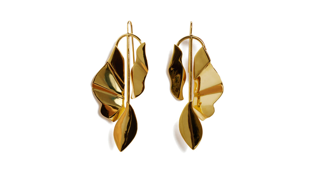 "Full view of Golden Coast Earrings. These earrings are a virtual gold-mine -- for compliments, of course. You'll glow in our gold-plated wire ""mobile"" earrings with hanging abstract leaf shapes."