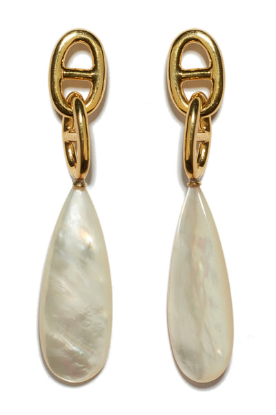 "Close-up thumbnail of Grotto Drop Earrings In Pearl. An elegant, 'forever' silhouette in timeless materials, the gold-plated ""chain link"" earrings with long mother-of-pearl drops will become a perennial favorite."