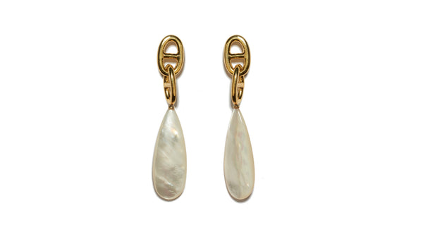 "Full view of Grotto Drop Earrings In Pearl. An elegant, 'forever' silhouette in timeless materials, the gold-plated ""chain link"" earrings with long mother-of-pearl drops will become a perennial favorite."