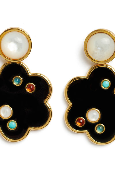 Thumbnail detail of Poppy Earrings. Our charmingly stylized flower earrings have serious graphic appeal. This acrylic and gold-plated brass pair is inlaid with an artful scattering of semiprecious cabochons, and topped off by mother-of-pearl.
