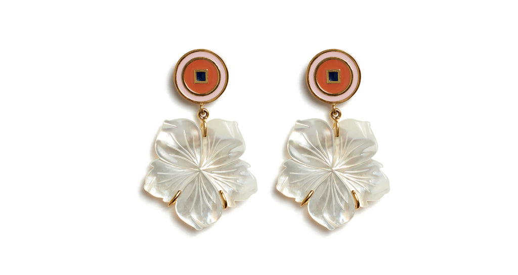 Full view of Monte Carlo Flower Earrings. Flower power! We really can't think of a prettier take on the classic art of carved shell jewelry. Mother-of-pearl etched flower earrings dangle from circular pink and peach enamel tops.