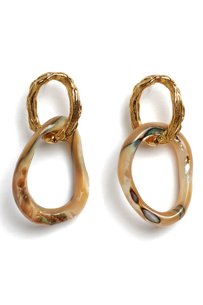 Thumbnail detail of Loto Earrings. Master the art of unique, understated glamor. We love the mix of textures and subtle color variations on these gold-plated brass and abalone shell link earrings.