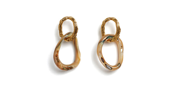 Full view of Loto Earrings. Master the art of unique, understated glamor. We love the mix of textures and subtle color variations on these gold-plated brass and abalone shell link earrings.
