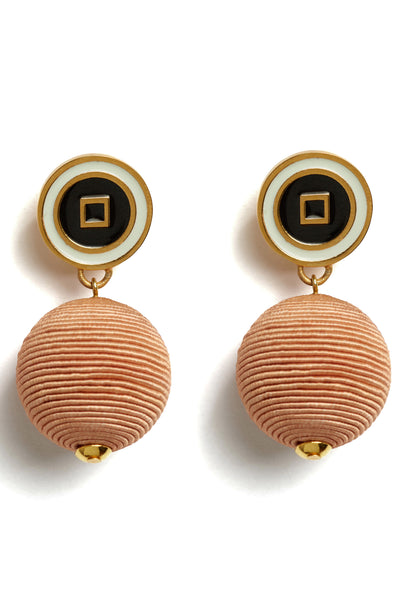 "Thumbnail detail of Corte Earrings. Right on style target: you'll cut a fine form in these peach silk cord drop earrings with cream and black enameled ""bull's eye"" tops."