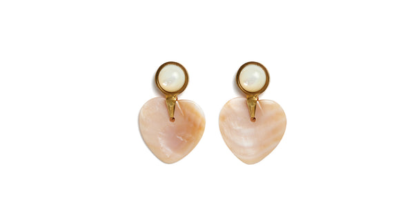 Full view of Heart And Soul Earrings. Might as well face it - we're addicted to love (and we know you are, too). Show your true feelings by donning this sweet pair of earrings, with pink mother-of-pearl hearts and pearl cabochon tops.