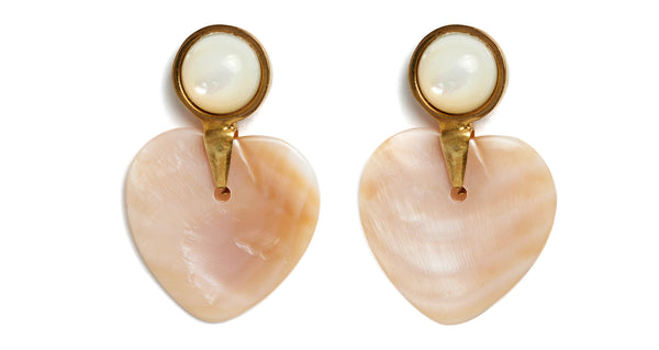 Close-up view of Heart And Soul Earrings. Might as well face it - we're addicted to love (and we know you are, too). Show your true feelings by donning this sweet pair of earrings, with pink mother-of-pearl hearts and pearl cabochon tops.