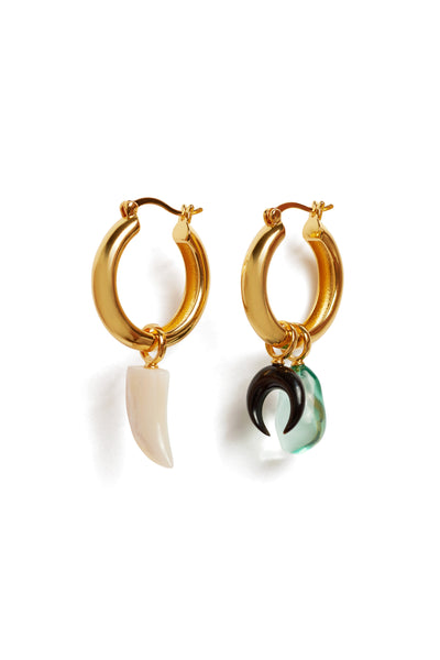 Thumbnail of Heroine Charm with Mood Hoops. Mother-of-pearl horn shaped charm with gold-plated brass. Mix, match, and layer charms for an endless assortment of earring combinations that are unique to YOU.