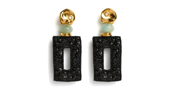 "Full view of Globetrotter Earrings. Ready for non-stop sophistication? You'll have the world at your feet in the gold-plated ""coin"" top earrings with tiny pearl cabochons and aquamarine morganite. The black rectangular panels are hand-sewn with crystal beads for a unique look fit for the style jet-setter."