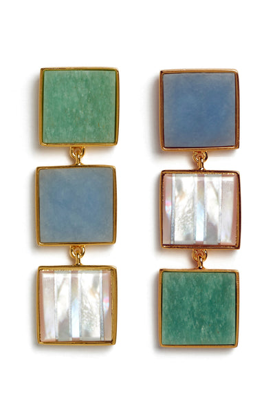 Thumbnail close-up of Treasure Island Earrings. Geometry goes glamorous in mismatched squares of semi-precious angelite, green aventurine and mother-of-pearl. The column mosaic earrings are a must-have addition to your proverbial box of style tricks.