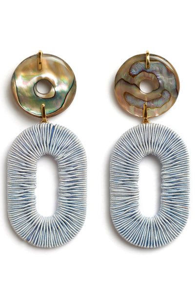 Thumbnail detail of Adriatic Earrings. We've got your accessories wardrobe down to a fine art. These abalone shell disc earrings with pale blue woven hoops are like mixed media sculptures for your earlobes.