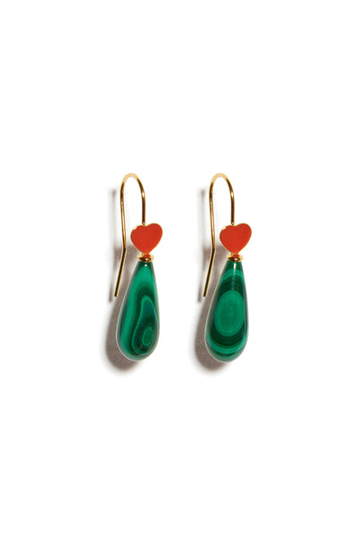 Thumbnail of Red Be Mine Earrings In Malachite. A sweet little sentiment just for you (or to gift to a friend!), these gold vermeil wire earrings are delicately punctuated with malachite drops and topped with tiny pink or red enamel hearts.