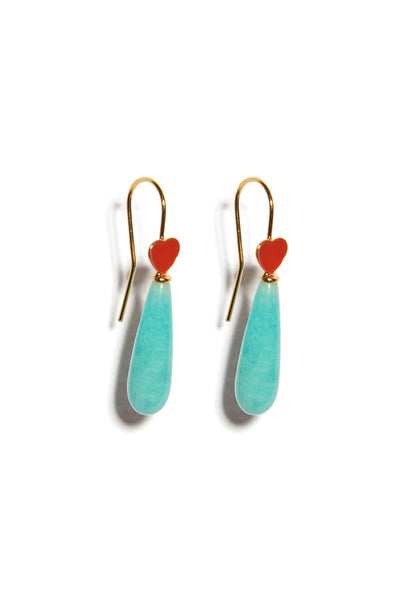 Thumbnail of Red Be Mine Earrings In Amazonite. A sweet little sentiment just for you (or to...