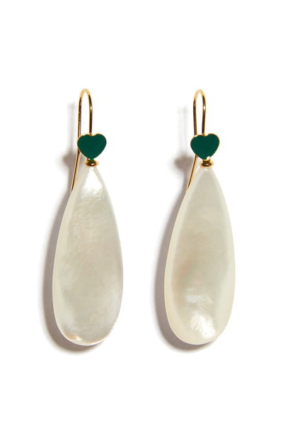 Thumbnail close-up of Green Be Mine Earrings In Mother Of Pearl. A sweet little sentiment just for you (or to gift to a friend!), these gold vermeil wire earrings are delicately punctuated with mother-of-pearl drops and topped with tiny green enamel hearts.