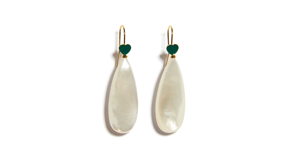 Full view of Green Be Mine Earrings In Mother Of Pearl. A sweet little sentiment just for you (or to gift to a friend!), these gold vermeil wire earrings are delicately punctuated with mother-of-pearl drops and topped with tiny green enamel hearts.