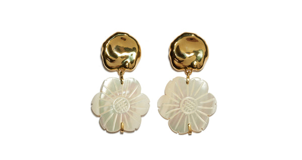 "Full view of Blanc Daisy Earrings. Say it with flowers in this small but decidedly eye-catching pair. The gold-plated cast ""coin"" top earrings with hanging mother-of-pearl daisies signal spring in all its glory."