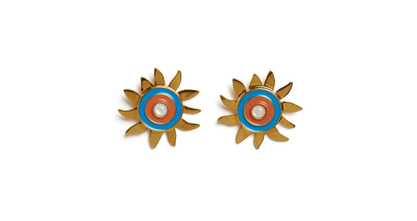 Full view of Corsica Sun Earrings. Who loves the sun? Brighten any dull days in our gold-plated sunshine stud earrings, with blue and burnt orange enamel and mother-of-pearl cabochons.