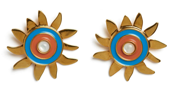 Close-up of Corsica Sun Earrings. Who loves the sun? Brighten any dull days in our gold-plated sunshine stud earrings, with blue and burnt orange enamel and mother-of-pearl cabochons.