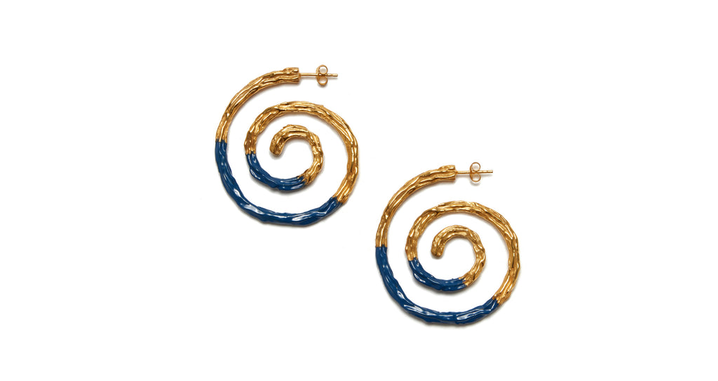 Full view of Spiral Earrings In Navy. We can't help but be captivated by the hypnotic sp...