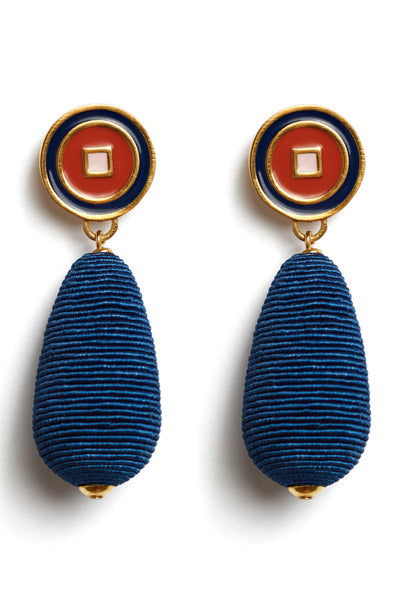"Thumbnail detail of Breton Stripe Earrings. Rock the style boat with these deep blue silk cord drop earrings in a lively nautical-inspired palette. With navy, tomato, and pale pink enameled ""bulls eye"" tops."