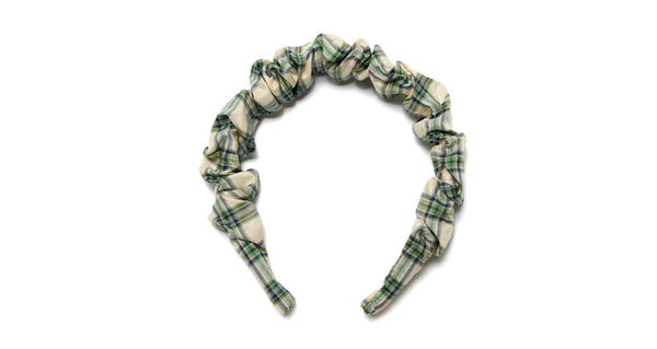 Full view of Beach Hair Headband In Green. Preppy, cool, nostalgic -- this is the headband that can do it all, and that you'll want to wear all summer long. In ruched pale green and cream plaid shantung silk.