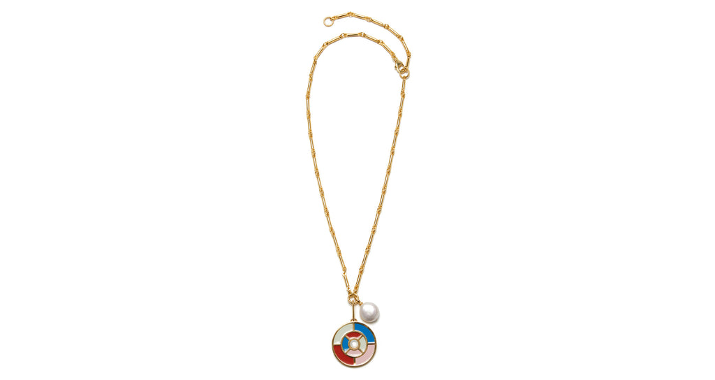 "Full view of Fortune Necklace In Kaleidoscope. We see beautiful things in your future, like this gold-plated chain necklace with ""kaleidoscope"" pendant in multi-color enamel with a mother-of-pearl cabochon. Accented with a sweet little freshwater coin pearl."