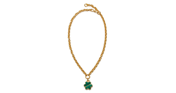 Full view of Daisy Chain Necklace In Malachite. Wear it everyday, love it forever. We think this chain-link necklace with malachite inlay daisy pendant is destined to become one of our most iconic layering pieces.