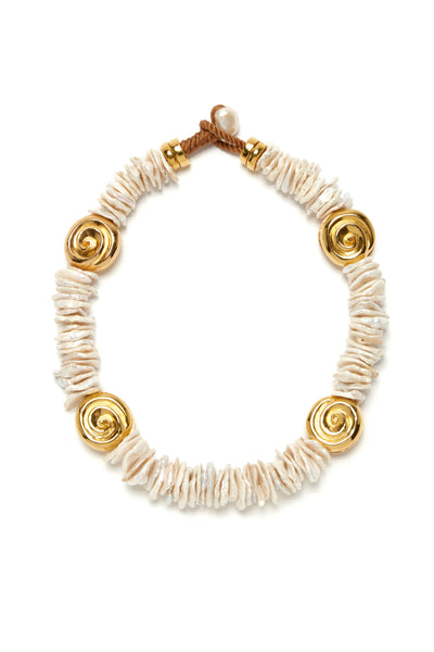 Thumbnail of Aphrodite Collar. Be a guaranteed goddess in our baroque pearl chip collar necklace with gold nautilus beads and freshwater pearl closure.