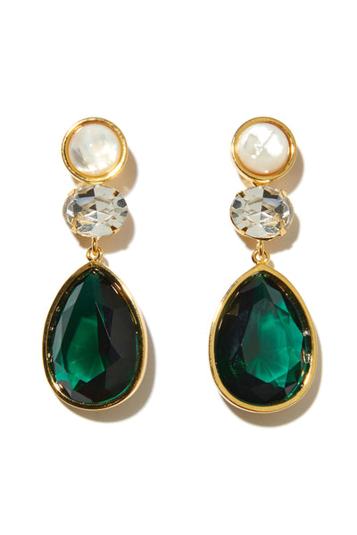 Thumbnail close-up of Fete Earrings. Be the belle of the ball in this one-of-a-kind pair of earrings, featuring a three-tier design of faux pearls, crystal glass stones, and green faceted glass teardrops.