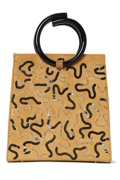 Thumbnail close-up of Pronto Purse In Sideways Squiggle. A statement tote that really cuts the mustard! This one-of-a-kind deep yellow leather mini bag is accented with sequin squiggles and topped with chocolate-colored acrylic circle handles.