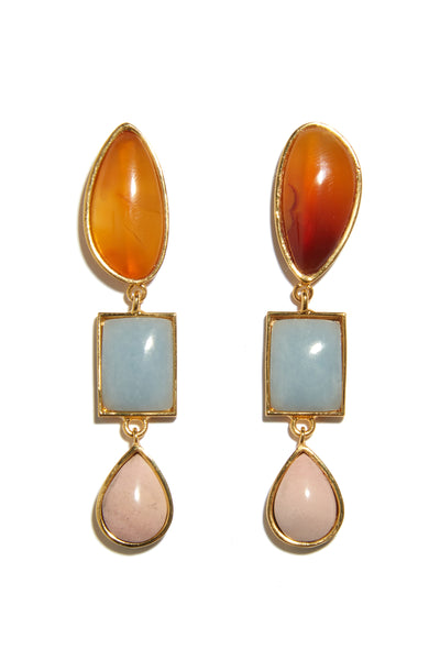 Thumbnail close-up of Color Scape Earrings. Hello, summer sunsets. We adore the semi-precious stone's color palette of blue and pink, topped with an unexpected fiery orange, in these one-of-a-kind gold-plated linked earrings.