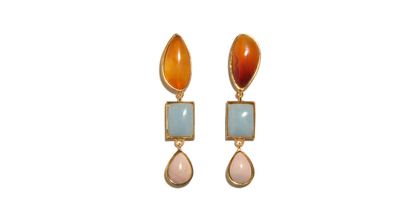 Full view of Color Scape Earrings. Hello, summer sunsets. We adore the semi-precious stone's color palette of blue and pink, topped with an unexpected fiery orange, in these one-of-a-kind gold-plated linked earrings.