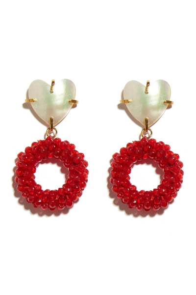 "Thumbnail close-up of Candied Corazon Earrings. We all want candy, but this sweet pair of gold-plated earrings is one-of-a-kind. Snatch up these mini statement-makers with ""heart"" shell tops and bright red beaded hoops."