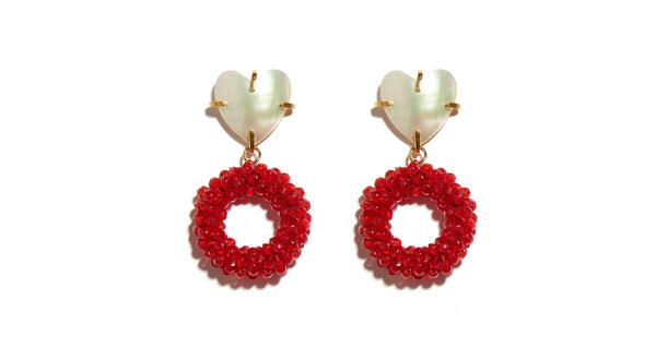 "Full view of Candied Corazon Earrings. We all want candy, but this sweet pair of gold-plated earrings is one-of-a-kind. Snatch up these mini statement-makers with ""heart"" shell tops and bright red beaded hoops."