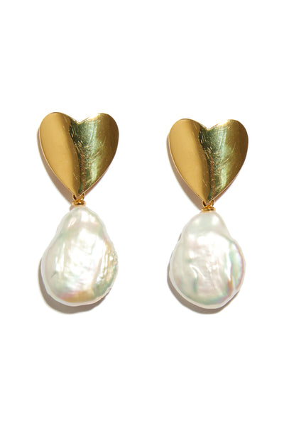 Thumbnail close-up of Queen Of Hearts Earrings. One classic accessory to rule them all. These truly one-of-a-kind earrings are composed of gold-plated heart tops with hanging baroque freshwater pearls.