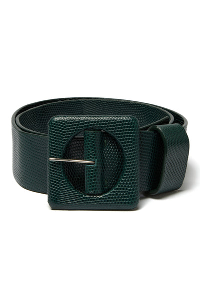 Thumbnail of Agnes Belt In Forest Lizard. New season, new shape. Check out the impeccable detailing on our wide embossed leather belt with oversized square buckle, made in THE most gorgeous shade of deep green.