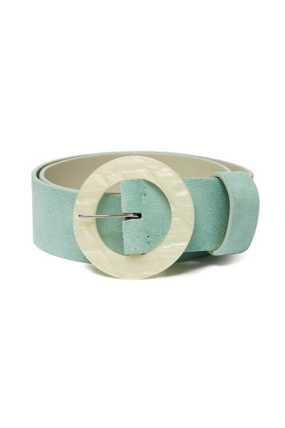 Thumbnail of Louise Belt In Sky Blue. Poised to become a wardrobe essential, we're already wondering how we lived without this wide sky blue-colored suede belt with oversized, round acrylic buckle.