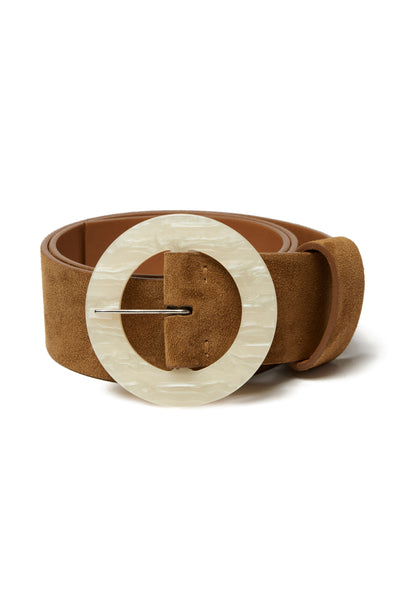 Thumbnail of Louise Belt In Camel. Poised to become a wardrobe essential, we're already wondering how we lived without this wide camel-colored suede belt with oversized, round acrylic buckle.