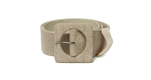 Full view of Agnes Belt In Linen. New season, new shape. Check out the impeccable detailing on our wide natural linen and leather belt with oversized square buckle.