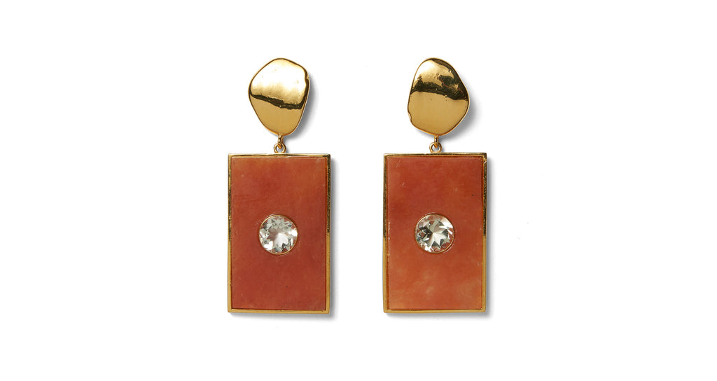Full view of Santa Maria Earrings. Coming in hot! Get that warm weather glow with our gold-p...
