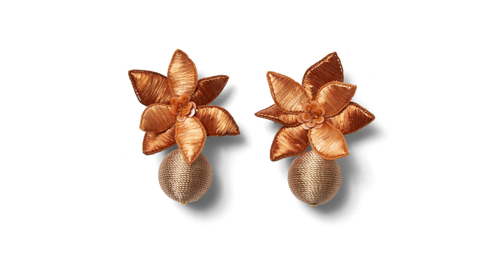 Full view of Tuscan Field Earrings. Molto Bene! Gild the lily this season in the prettiest p...