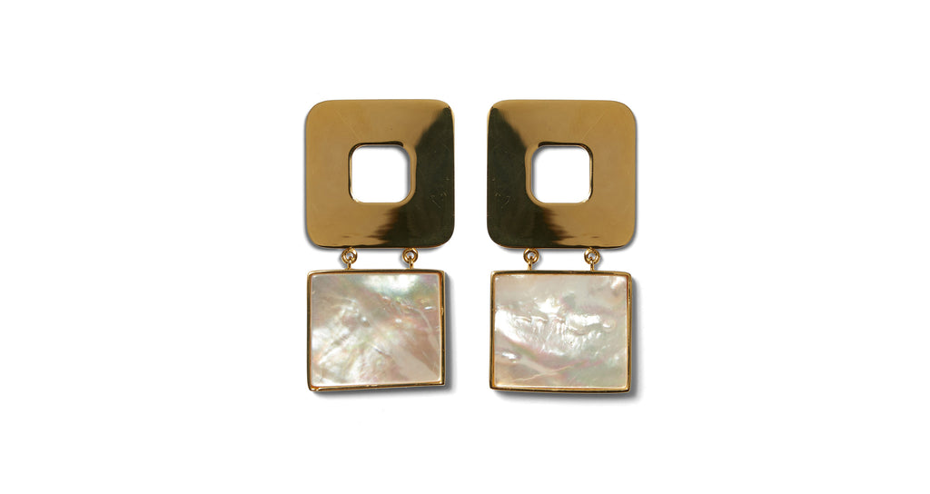 Full view of Geo Pearl Earrings. Fortune favors the bold. Square up your summer style in a p...