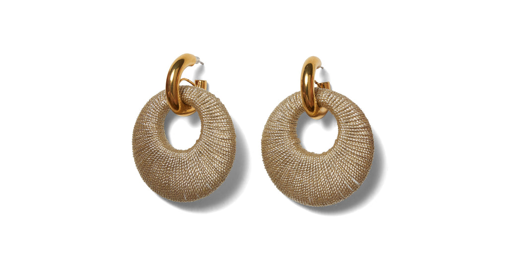 Full view of Orb Earrings. Make your hoop dreams come true in our gold-plated link earrings ...
