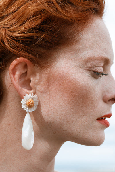 Thumbnail of model wearing the Fresh Cut Daisy Earrings. These hand-sewn sequin flower earri...