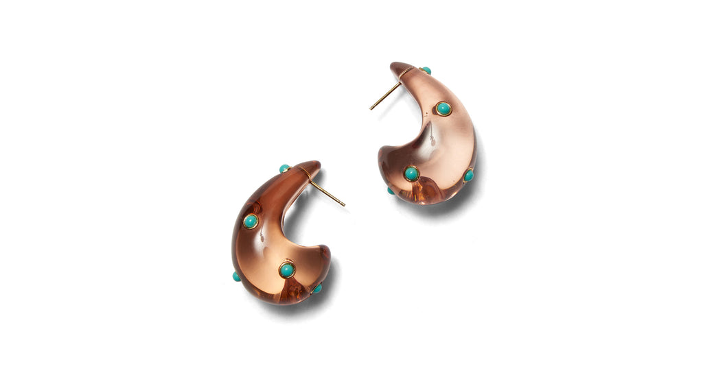 Full view of Arp Earrings In Dotted Caramel. You asked, we answered! Our bestseller Arp Earr...