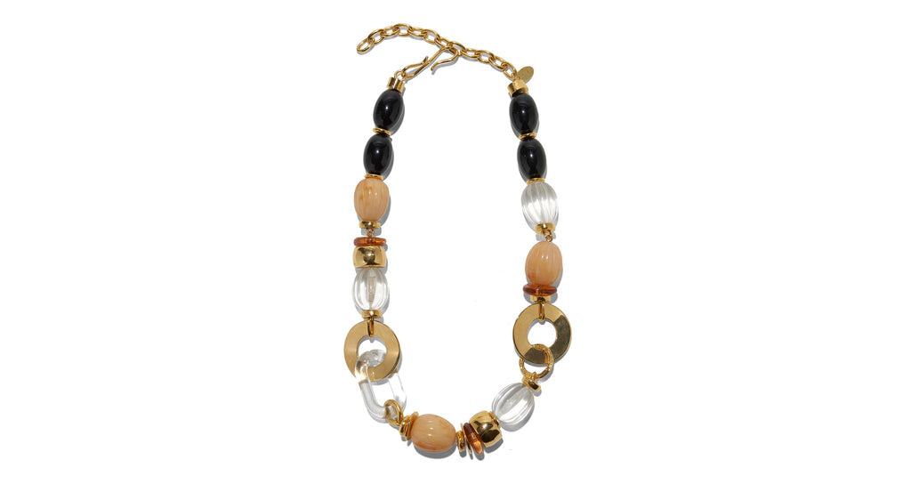 Full view of Como Necklace. Spice up your spring wardrobe in this flattering, warm-toned sin...