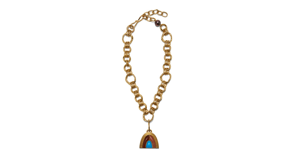 Full view of Pot Of Gold Necklace In Seaside. Evoking the deep, saturated tones of the Itali...