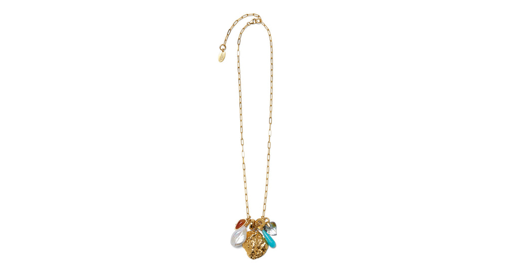 Full view of Ocean View Charm Necklace. Embrace some deep sea style in a gold vermeil chain ...